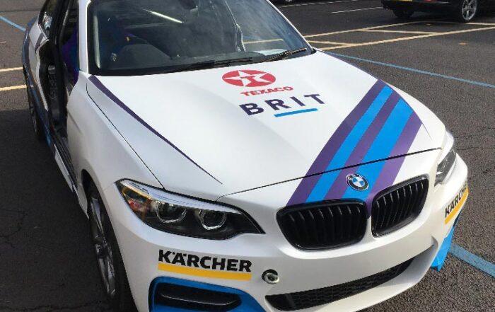 motorsport car exterior with sponsors